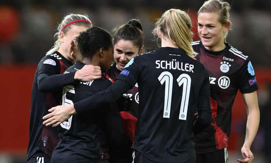 Bayern Munich's Lineth Beerensteyn (second left) celebrates with teammates after scoring against Rosengard in the Uefa Women's Champions League quarter-final last Wednesday.