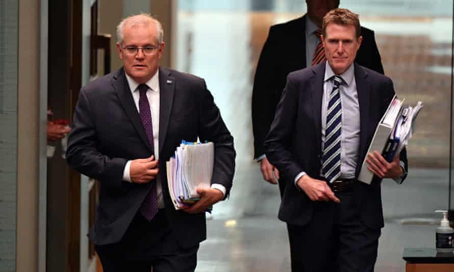 Australian prime minister Scott Morrison and minister for industry, science and technology Christian Porter