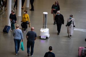 An ultraviolet robot cleans at St Pancras international station in London, said to be the first train station in the world to utilise high-tech cleaning robots to help eradicate viruses