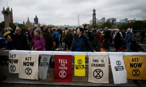 Activists block Lambeth Bridge during the Extinction Rebellion protest in London.