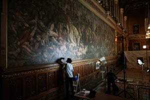 Conservators working on Daniel Maclise's murals The Meeting of Wellington and Blücher after the Battle of Waterloo and The Death of Nelson, in the Royal Gallery of the House of Lords on 19 April 2018