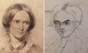 Pencil sketch by Charlotte Brontë, which new research reveals is a self-portrait alongside George Richmond's portrait.