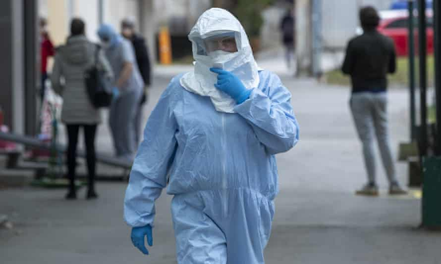 A health worker wears protective suit at the infectious disease clinic in Zagreb, Croatia.