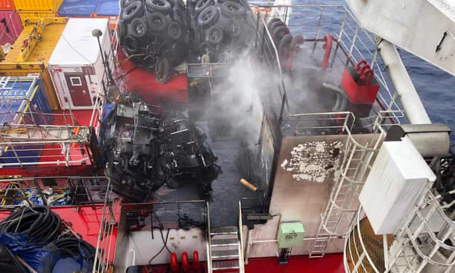 The MPV Everest's deck after the blaze.