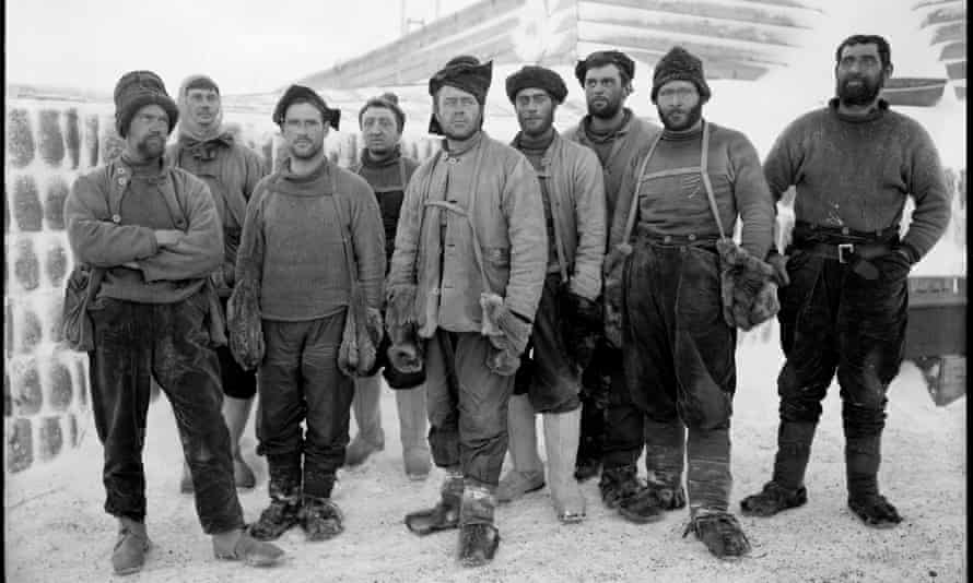 Herbert Ponting's photograph of Captain Scott (centre) and group in Antarctica, 13 April 1911.