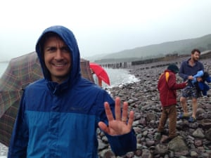 """<strong>You're kidding, right?</strong><br>""""Our friend Andy was visiting from Minneapolis. After a boozy do on Saturday night, we thought the perfect way to blow off the cobwebs would be a trip to the beach at West Porlock, near Minehead, for a dip in the sea. It was 14C, windy, and raining, and apparently the term """"beach"""" was misleading...""""<br>Photograph: <a href=""""https://witness.theguardian.com/assignment/55b6038de4b0a4260de253c7"""">ID964449</a><a>/GuardianWitness</a>"""