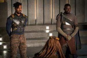 Michael B Jordan and Daniel Kaluuya in Black Panther.