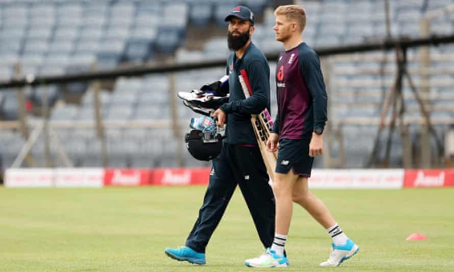 Moeen Ali (left) and Sam Billings head for the nets at the MCA Stadium in Pune, venue for the three-match ODI series with India which starts on Tuesday.