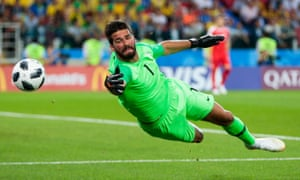 Alisson, in action here for Brazil at the World Cup, has been at Roma since 2016.