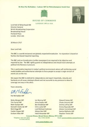 The letter to BBC director general.