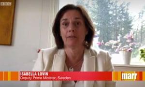 Sweden's deputy prime minister, Isabella Lövin