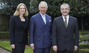 The co-authors of the Ladybird book Climate Change: Emily Shuckburgh, a Cambridge University climate scientist; Prince Charles; and Tony Juniper, a former Friends of the Earth director.