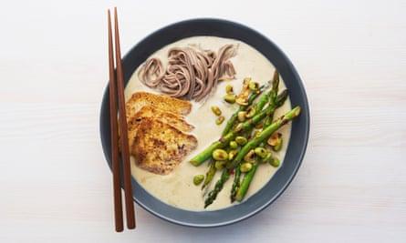 The super bowl: Meera Sodha's white miso and tofu ramen with chilli garlic asparagus.