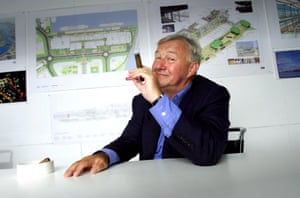 Terence Conran in front of plans for the Ocean Terminal shopping centre in Edinburgh.