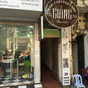 Exterior Giang Cafe in Hanoi, Vietnam, famous for its egg coffee