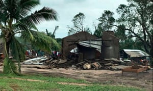 A destroyed house in the Macomia district of Mozambique