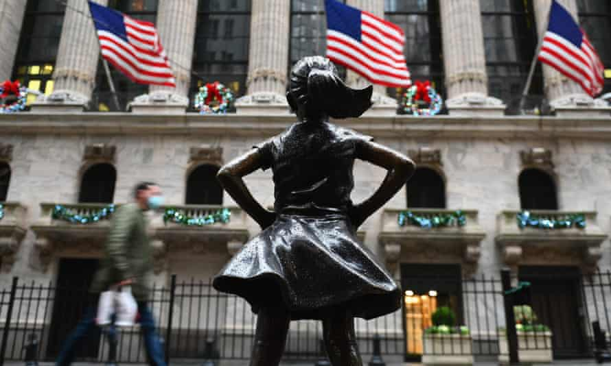 'Fearless Girl' statue at Wall Street after heavy rainfall