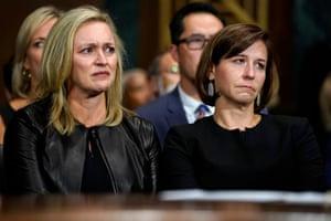 Kavanaugh's wife, Ashley Estes Kavanaugh, right, listens as he testifies