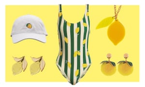 Clockwise from top left: Lemonade hat,£27.35; Beyoncé; Swimsuit, £155, bySolid & Striped at Matchesfashion; Necklace, £10,Meri Meri at The Conran Shop; Earrings, £8,Accessorize; Earrings,£38, Wolf & Moon.