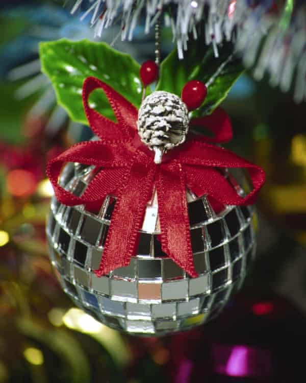 A Christmas tree glitter ball bauble.