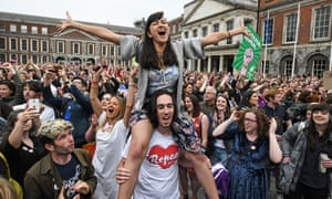 Celebrations at Dublin Castle after the Irish abortion referendum in May.
