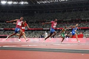 Lamont Marcell Jacobs of Italy unexpectedly wins the men's 100m final.