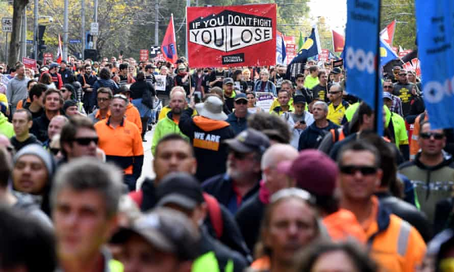 Protest for higher minimum wage and better work conditions in Melbourne