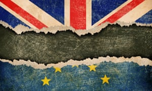 Illustration of ripped union jack and Europe flag