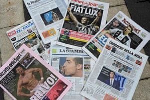 The Italian press welcomes Ronaldo to Turin.