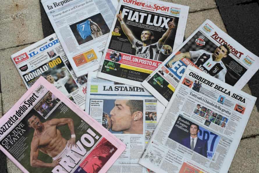 The Italian press welcomes Ronaldo to Turin.