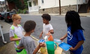 Children sell lemonade in Easton.