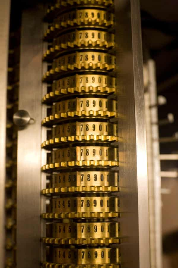 detail from a replica of Charles Babbage's Difference Engine, a forerunner of the computer.