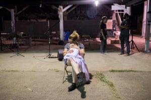 Rachel Wolgamuth of Grand Rapids, Michigan holds her daughter Stella.