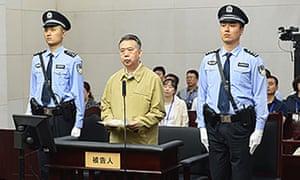 Former Interpol chief Meng Hongwei at his trial in Tianjin in June