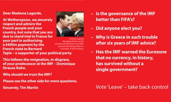 One of the pub chain's Vote Leave beer mats.