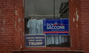 A window announcing support for the Republican ongressional candidate Rick Saccone is seen in Waynesburg, Pennsylvania.