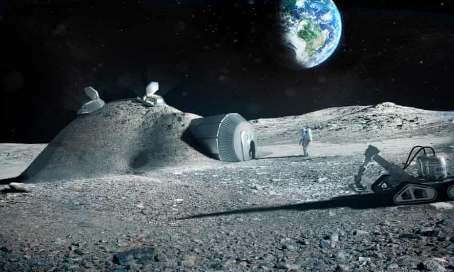 One suggestion for building a lunar base involves using regolith from the moon's surface for 3D printing.