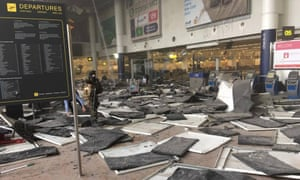 The aftermath of the explosion at Brussels airport in March.