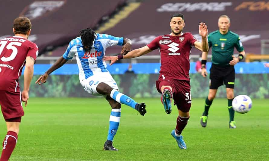 Tiémoué Bakayoko fires Napoli ahead in the 11th minute at Torino.
