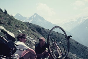 Fixing a puncture on Pas de la Corne in the French Alps 1971