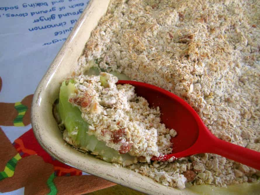 Claire Thomson's leek and cheddar crumble