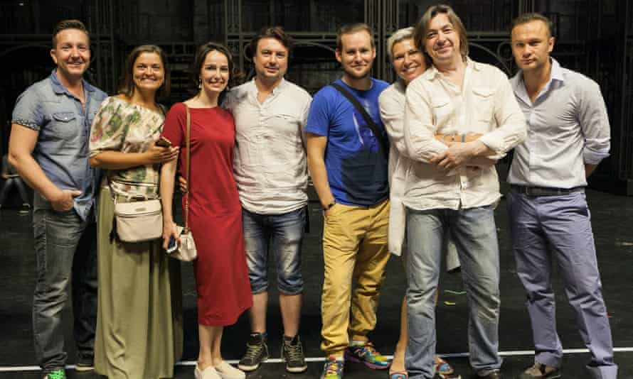 The cast of the Anna Karenina musical. Valeriya Lanskaya, wearing red, plays Anna.