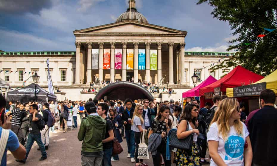 A freshers' week welcome fair at UCL in 2013.