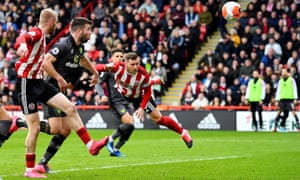 Billy Sharp scores Sheffield United's winner against Norwich in what turned out to be their final Premier League match before lockdown.