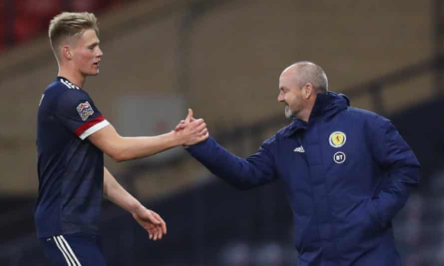 Scott McTominay shakes hands with Steve Clarke after Scotland's Nations League game at home to the Czech Republic last October