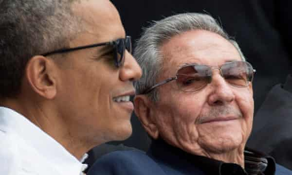 Then US president Barack Obama and President of Cuba Raul Castro attending a baseball game between the Tampa Bay Rays and the Cuban national team in Havana, Cuba in 2016.