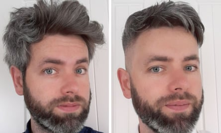 Mark Horton before and after haircuts.