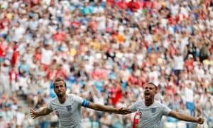 England's Harry Kane celebrates with Jordan Henderson