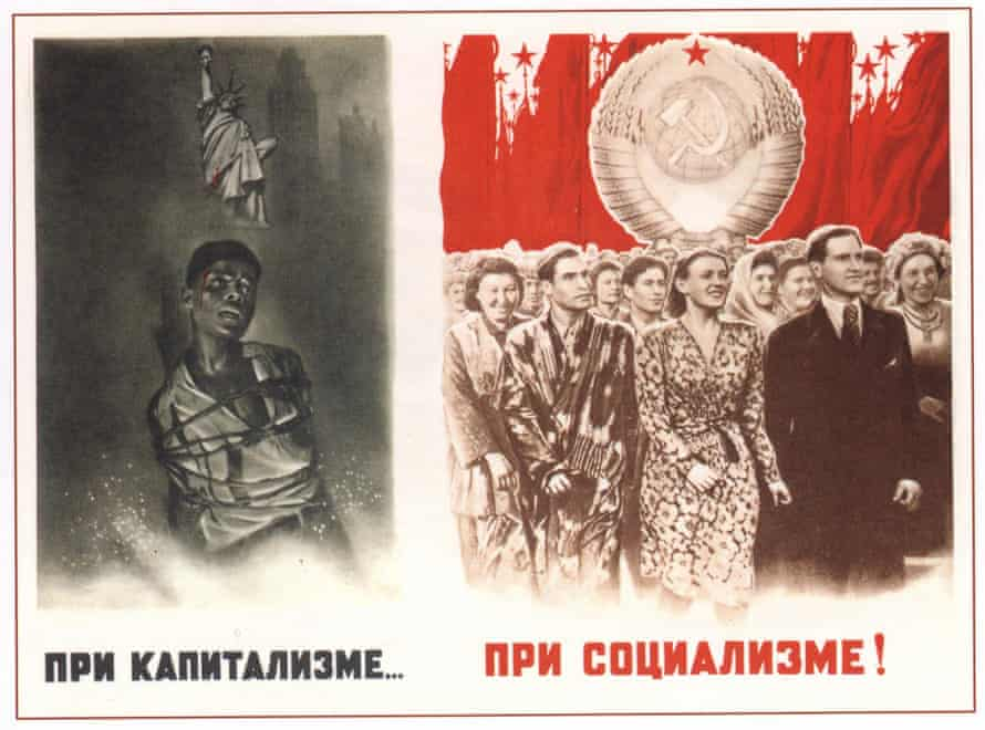 Soviet poster from 1948. The captions read 'Under capitalism' and 'Under socialism'.