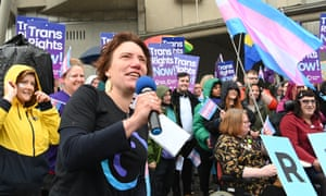 Trans rights activists outside the Scottish parliament last week